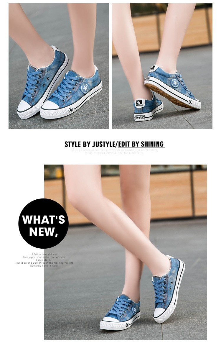 2019 Women's Sneakers, Denim, Casual Shoes, Female Canvas Shoes 23