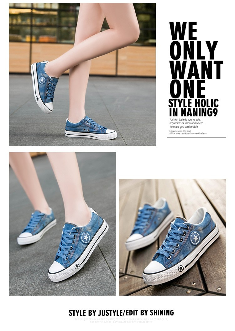 2019 Women's Sneakers, Denim, Casual Shoes, Female Canvas Shoes 26